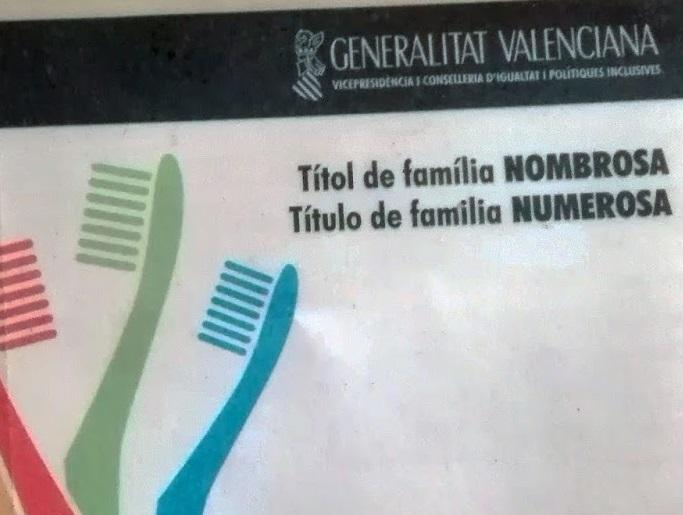 Titulo familia numerosa gva