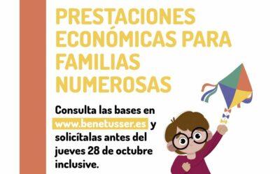 Prestaciones económicas para familias numerosas de Benetuser